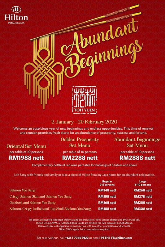 View Chinese New Year's Menu at Toh Yuen Hilton Petaling Jaya