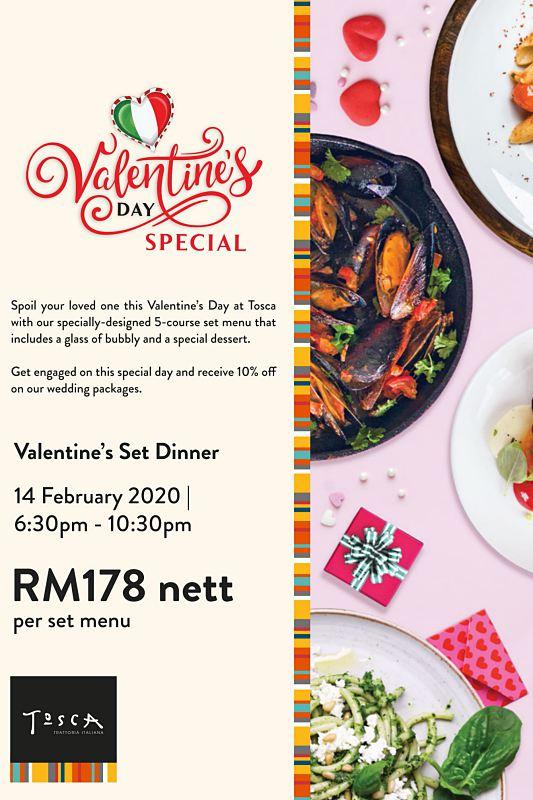 View Valentine's Menu at Tosca Melaka