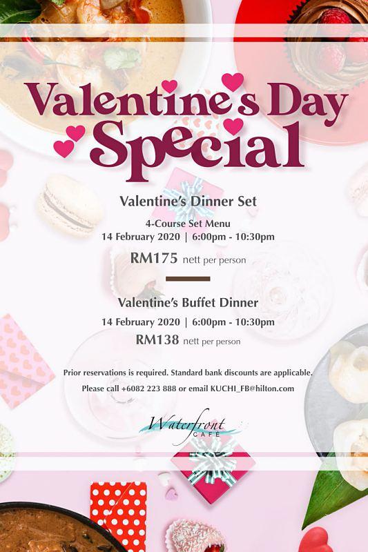 View Valentine's Menu at Waterfront Cafe @ Hilton Kuching