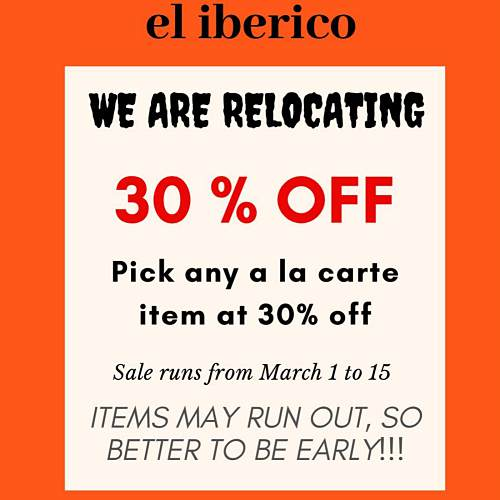 View Relocation Sale at El Iberico