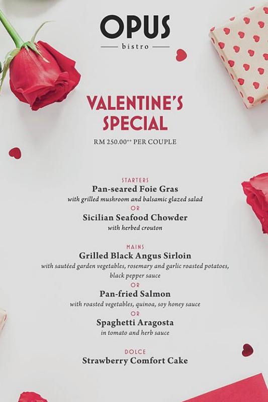 View Valentine's Menu at Opus Bistro