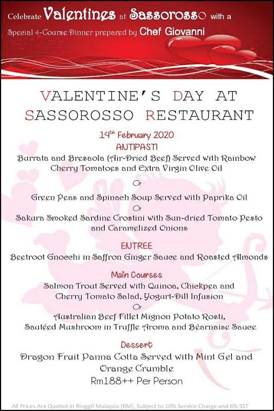 View Valentine's Day Menu at Sassorosso Italian Restaurant & Wine Retailer