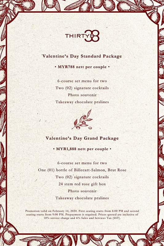 View Valentine's Menu at THIRTY8 @ Grand Hyatt Kuala Lumpur