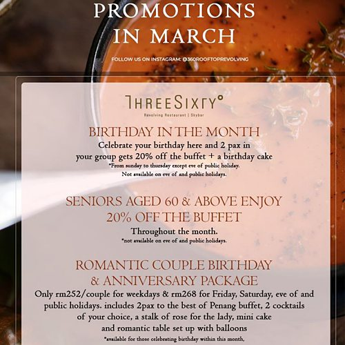 View March Promotion at 360 Revolving Bar and Restaurant