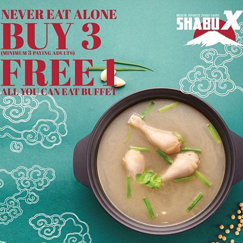 View Buy 3 Free 1 Promo at Shabu X