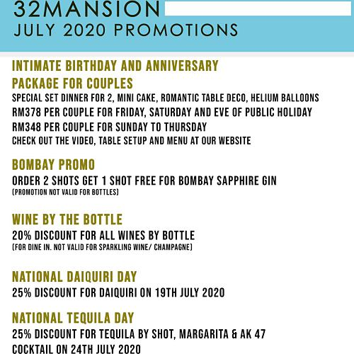 View July Promo at Thirty Two Mansion