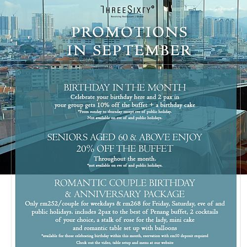 View September Promo at 360 Revolving Penang