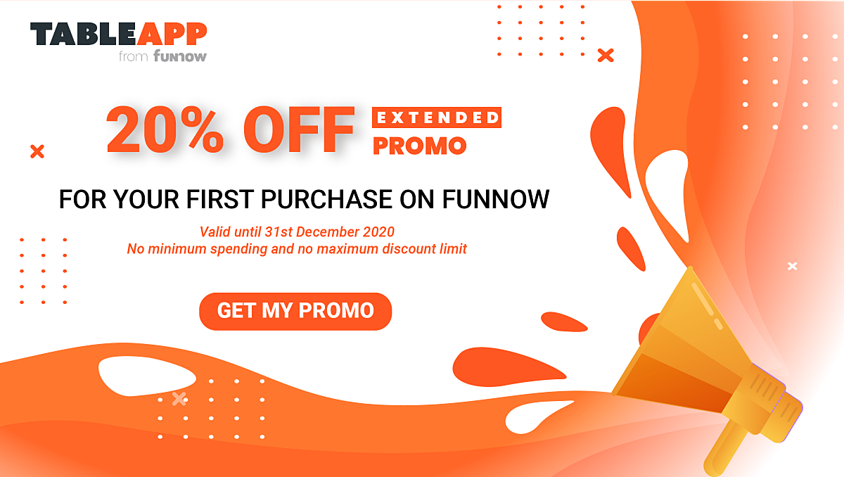 [Limited-Time Offer] 20% OFF for Your First Purchase on FunNow