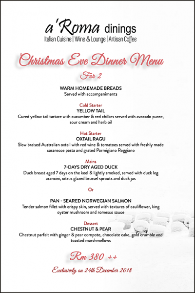 Click here to view Christmas Menu at Aroma Dinings