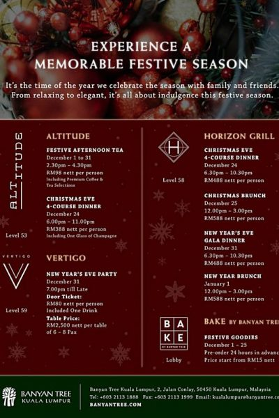 Click here to view Christmas Menu at Horizon Grill