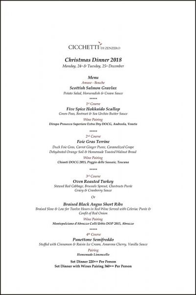 Click here to view Cicchetti Di Zenzero's Christmas Menu