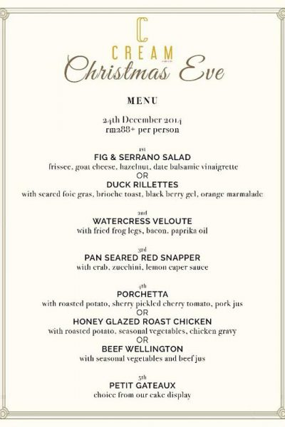 Click here to view Christmas Menu at Cream by Chin Chin