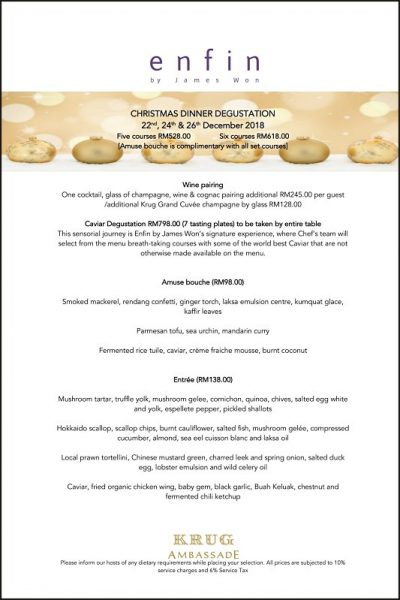 Click here to view enfin by James Won's Christmas menu