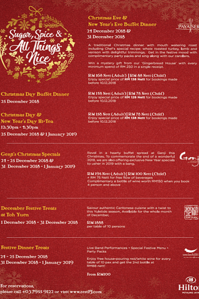 Click here to view Christmas Menu at Uncle Chili's, Hilton Petaling Jaya