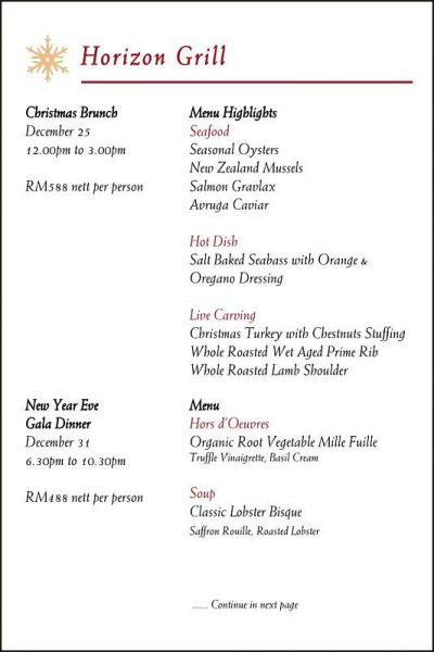 Click here to view New Year's Eve Menu at Horizon Grill, Banyan Tree
