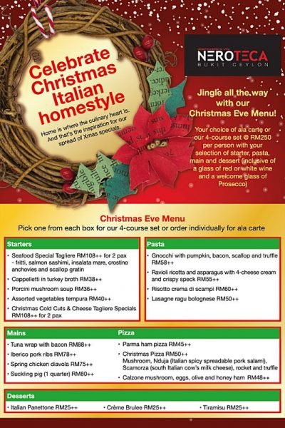 Click here to view Christmas Menu at Neroteca