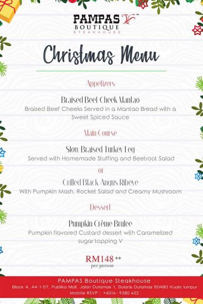 Click here to view Christmas menu at Pampas Boutique