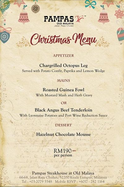 Click here to view Christmas Menu at PAMPAS Old Malaya