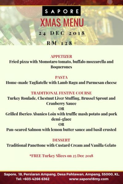 Click here to view Sapore's Christmas Menu