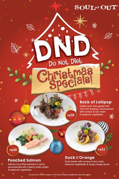 Click here to view Christmas menu at SOULed OUT Sri Hartamas