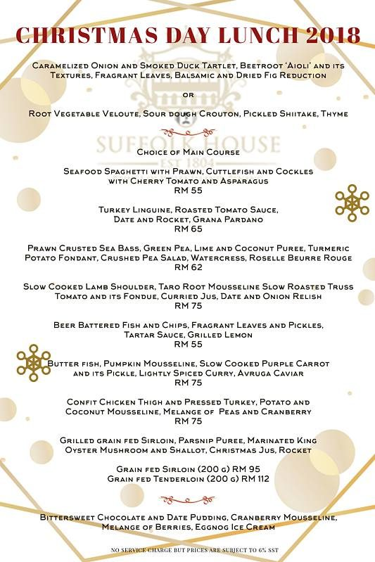 Click Here To View Christmas Lunch Menu at Suffolk House