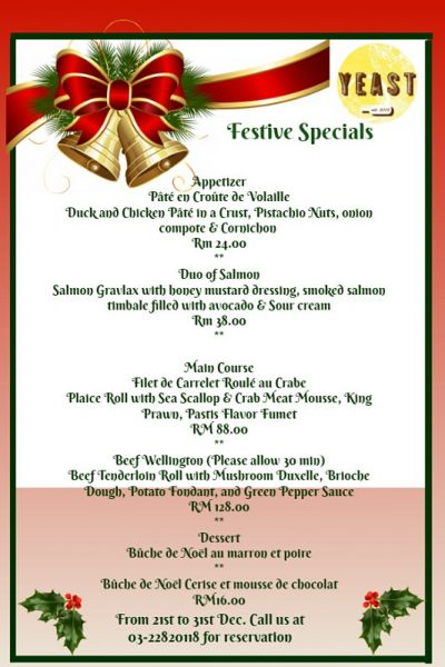 Click here to view Christmas Menu at YEAST